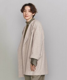 BY 無領 運動服材質 中長版 對襟外套