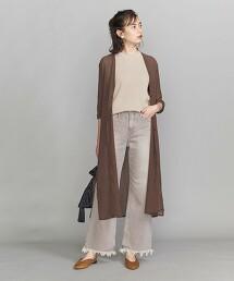 BY 縐紗V領長版對襟外套