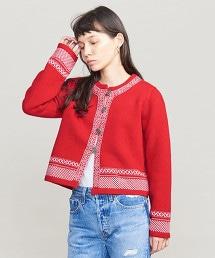 BY 北歐圖案羊毛對襟外套