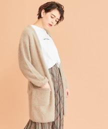 BY∴ 絨毛附腰帶針織對襟外套