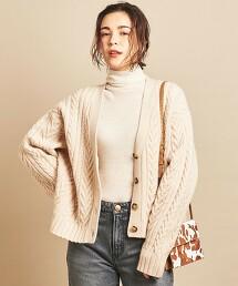 BY∴ 羊毛麻花編織V領對襟外套