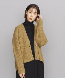 BY 羊毛麻花V領對襟外套