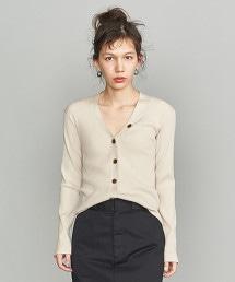 BY 羅紋V領針織對襟外套
