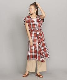 <OKIRAKU>格紋長圍裙