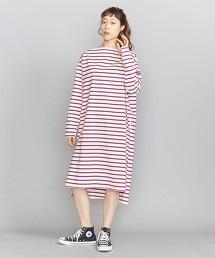 <Americana>棉質一字領橫條紋洋裝