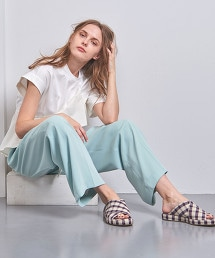 <PIPPICHIC>交叉格紋涼鞋