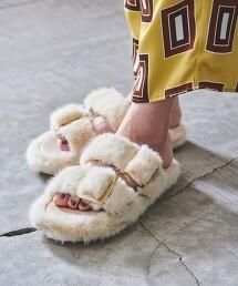 <UNITED ARROWS>仿皮草兩條飾帶 涼鞋
