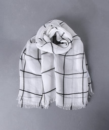 UWCB 苧蔴 格紋 披肩圍巾