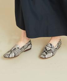 【特別訂製】<CAMINANDO>∴蛇皮紋印刷 方楦頭皮革 馬銜樂福鞋 -2WAY- OUTLET商品