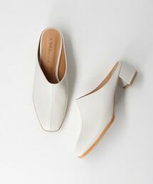 <BEVERLY>皮革方頭流線形裸跟鞋 日本製