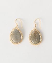 BY 水滴形彩色石頭耳環