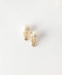 BY DRESS 棉花珍珠×金屬帽蓋 耳環