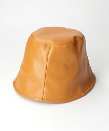 BY 仿皮革 水桶帽