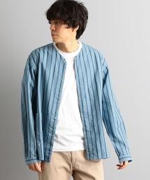 MC 靛藍染 無領襯衫