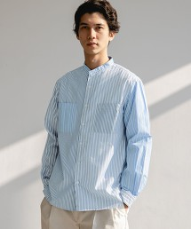 SC G/D 拼接直條紋立領襯衫