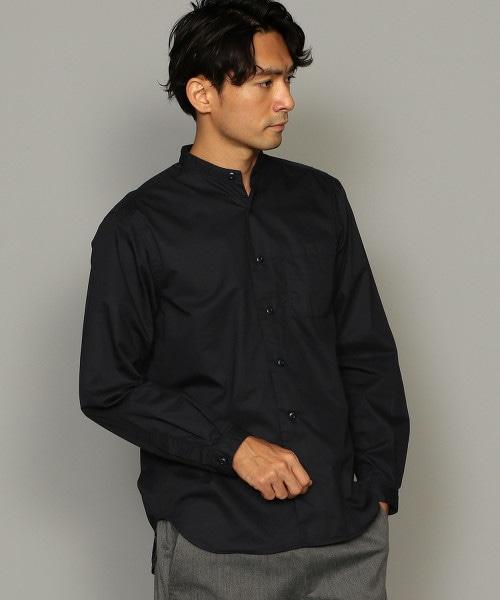 SC 多層次後襬長袖立領襯衫