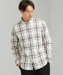 SC 緹花 格紋 釦領 長袖襯衫 OUTLET商品