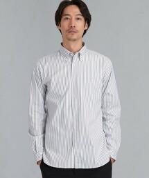 C/C 彈性 直條紋 釦領襯衫 < 機能性 / 抗菌・吸水速乾・彈性 >