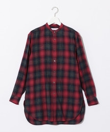 『BRACTMENT』 漸層格紋 長版立領襯衫