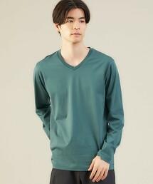 <green label relaxing>有機棉 V領 長袖T恤