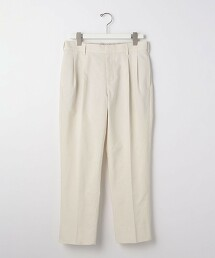 < 有型的打摺長褲 > 方平紋 寬褲 2摺 錐形褲