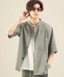 <green label relaxing>ALBINI C/L 立領 短袖襯衫