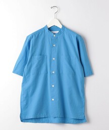 SC 高度度平織 方形立領短袖襯衫