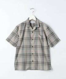T/W 格紋 開領 短袖襯衫 < 機能性 / 彈性可水洗 >#