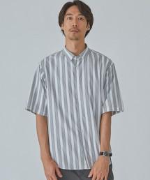 CM 緹花 直條紋 微寬版 短袖 襯衫 日本製
