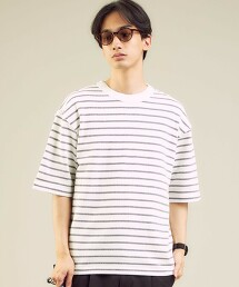 SC 繩紋橫條紋 圓領 短袖T恤