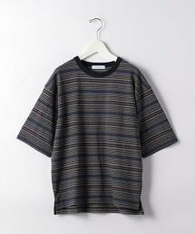 SC 緹花橫條紋圓領 5分袖 T恤