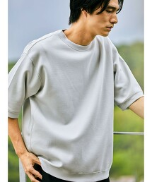 <green label relaxing>瓦楞針織 圓領短袖上衣