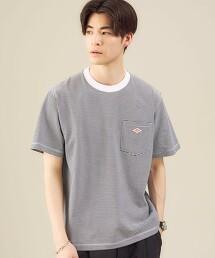 [ DANTON ]  LOGO口袋T恤 橫條紋