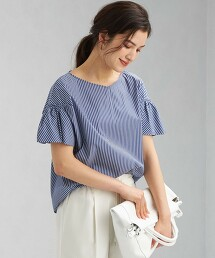 CB 棉 府綢 縮摺袖 罩衫