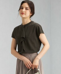 D 輕薄羅馬布 標準領 摺邊 法式袖套頭上衣 日本製