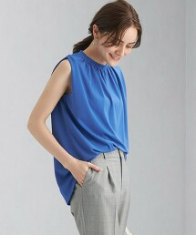 CB 三醋酸纖維 羅馬布 縮摺領 無袖套頭上衣 日本製