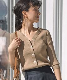 【先行預購】[可手洗] CS V領 羅紋 對襟外套
