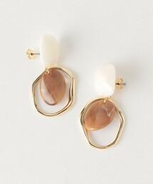 CS 大理石紋 金屬 戒環式 耳環