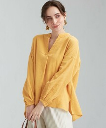 ◆CFC 棉質縐紗開領套衫