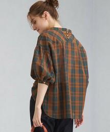 燈籠袖 格紋罩衫