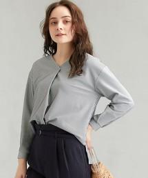 FFC 泡泡紗 直條紋 前摺線上衣 -日本製-
