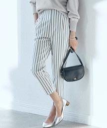 ◆FM TR 直條紋 打摺 錐形褲