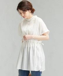 CFC 多臂織 直條紋立領蕾絲套衫