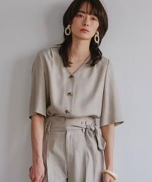 [仿亞麻] FM 三醋酸纖維/PE 寬袖套衫