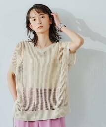 FM 2WAY 網布寬版針織罩衫