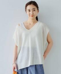 [ 可手洗 ] CFC L 打摺 V領針織羅紋罩衫