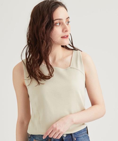 [可手洗] FFC 不對稱領無袖針織衫