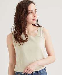 [手洗い可能] FFC 不對稱領無袖針織衫