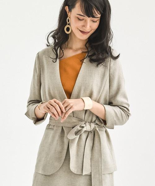 [仿亞麻] ◆FM 三醋酸纖維/PE 無領西裝外套