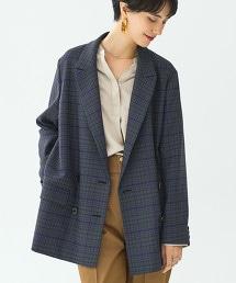FM B/F 格紋 長版雙排西裝外套